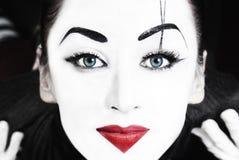 Bello mime della donna con gli occhi azzurri immagine stock libera da diritti