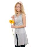 Bello modello biondo con un fiore 3 Immagine Stock Libera da Diritti