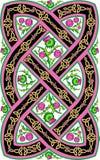 Bello modello celtico con il cardo selvatico dei fiori Fotografia Stock