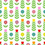 Bello modello dei tulipani e dei fiori Immagine Stock
