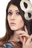 Bello modello del tatuaggio con la maschera Immagini Stock Libere da Diritti