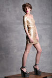 Bello modello della ragazza dell'altezza del vestito dall'oro in pieno Fotografia Stock