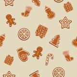 Bello modello delle icone del biscotto di Natale Struttura senza giunte, priorità bassa Immagine Stock