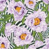 Bello modello di fiore senza cuciture tropicale illustrazione di stock