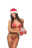 Bello modello di forma fisica in un bikini rosso Fotografia Stock Libera da Diritti