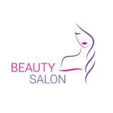 Bello modello di logo di vettore della donna per il salone di capelli Fotografia Stock