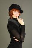 Bello modello di modo in vestito nero Fotografia Stock