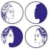 Bello modello di progettazione di logo di vettore della raccolta di schizzo della ragazza cosmetico, Fotografia Stock