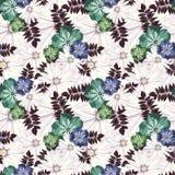 Bello modello floreale d'annata Reticolo senza giunte Fiori Germogli luminosi, foglie, fiori Fiori per le cartoline d'auguri, man Immagini Stock Libere da Diritti