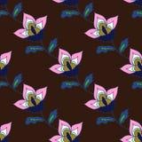Bello modello floreale disegnato a mano scuro Fotografia Stock Libera da Diritti