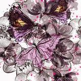 Bello modello o fondo senza cuciture con i fiori ed il burro illustrazione vettoriale