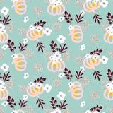 Bello modello senza cuciture elegante di vettore di autunno con le zucche ed i fiori su fondo blu illustrazione vettoriale