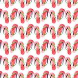 Bello modello sveglio adorabile luminoso di estate di comodità dell'illustrazione verde rossa della mano dell'acquerello di Flip- illustrazione di stock