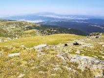 Bello Mountain View di Rila di estate, vegetazione quasi secca, montagne di Rila, Bulgaria Fotografia Stock Libera da Diritti