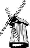 Bello mulino a vento di contorno nel vettore Fotografie Stock Libere da Diritti