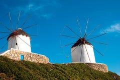 Bello mulino a vento sull'isola di Mykonos Immagine Stock