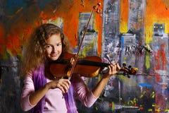 Bello musicista del violino Fotografia Stock Libera da Diritti