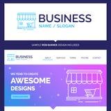 Bello negozio di marca commerciale di concetto di affari, deposito, mercato, configurazione illustrazione di stock