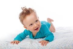 Bello neonato con il iridum di eterocromia fotografia stock