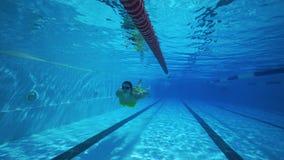 Bello nuoto subacqueo della donna nello stagno chiaro