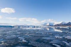 Bello orizzonte della laguna di inverno dell'Islanda Fotografie Stock Libere da Diritti
