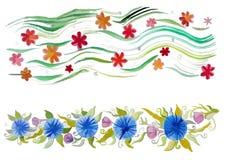 Bello ornamento decorativo con i fiori Fotografia Stock Libera da Diritti