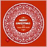 Bello ornamento del pizzo di Natale con tricottato Fotografie Stock