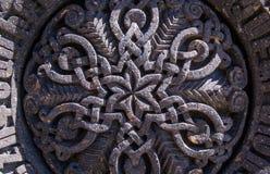 Bello ornamento sulla pietra, parte di khachkar Fotografie Stock