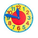 Bello orologio-fronte variopinto del quadrante di orologio su bianco isolato Fotografie Stock Libere da Diritti