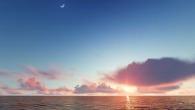 Bello paesaggio ardente di tramonto alla rappresentazione del mare 3D Immagine Stock Libera da Diritti