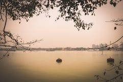 Bello paesaggio Calcutta, India di vista del fiume di Hooghly fotografia stock libera da diritti