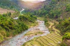 Bello paesaggio circa il giacimento a terrazze del riso con il fiume Fotografia Stock