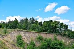 Bello paesaggio con gli alberi e cielo blu su una montagna sabbiosa Fotografia Stock Libera da Diritti