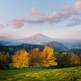 Bello paesaggio con gli alberi variopinti nella stagione di autunno Fotografie Stock Libere da Diritti