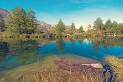 Bello paesaggio con il Cervino nelle alpi svizzere, vicino Immagini Stock