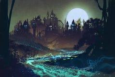 Bello paesaggio con il fiume misterioso, luna piena sopra i castelli Fotografie Stock