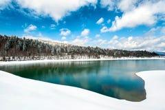 Bello paesaggio con il lago congelato nel tempo di primavera Fotografia Stock