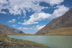 Bello paesaggio con il lago del turchese fotografie stock