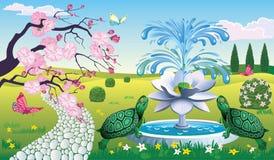 Bello paesaggio con la fontana Lotus e le tartarughe Fotografia Stock