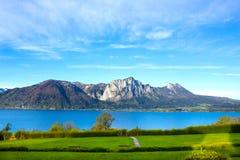 Bello paesaggio con le alpi, terra di Salzburger, Austria Fotografia Stock