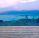 Bello paesaggio degli alberi e nebbia in foschia prima dell'alba con woode Immagini Stock