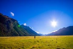 Bello paesaggio del ghiacciaio dell'alta montagna a Milford Sound con un sole nel cielo, in isola del sud in Nuova Zelanda Immagine Stock Libera da Diritti