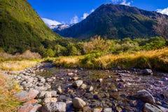 Bello paesaggio del ghiacciaio dell'alta montagna a Milford Sound, in isola del sud in Nuova Zelanda Immagine Stock