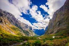 Bello paesaggio del ghiacciaio dell'alta montagna a Milford Sound, in isola del sud in Nuova Zelanda Immagini Stock