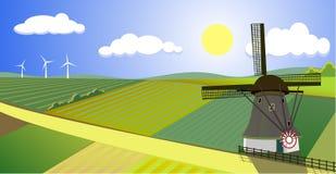 Bello paesaggio del mulino a vento Fotografie Stock Libere da Diritti