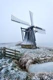 Bello paesaggio del mulino a vento di inverno Immagini Stock Libere da Diritti