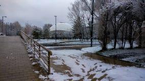 Bello paesaggio del parco di inverno fotografia stock