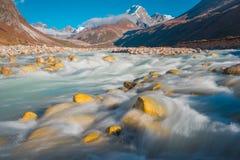 Bello paesaggio del villaggio di Pheriche & di x28; 4240 m& x29; Itinerario del campo base di Lukla-Everest Immagini Stock Libere da Diritti