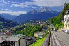 Bello paesaggio della città di Berchtesgaden Fotografia Stock