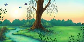 Bello paesaggio della foresta di mattina royalty illustrazione gratis